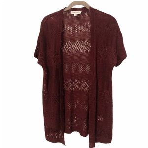 Cloud Chaser Loose Knit Burgundy Cardigan, Small